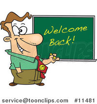 Cartoon Teacher Writing Welcome Back on a Board by Ron Leishman