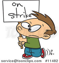 Cartoon Boy Carrying an on Strike Sign by Ron Leishman