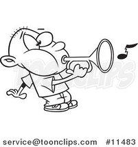 Cartoon Line Drawing of a Boy Playing a Bugle by Ron Leishman