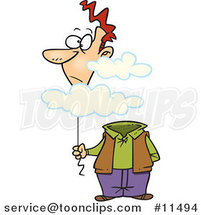Cartoon Guy with His Balloon Head in the Cloud by Ron Leishman