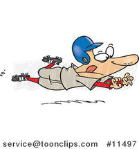 Cartoon Baseball Player Sliding for Home by Ron Leishman