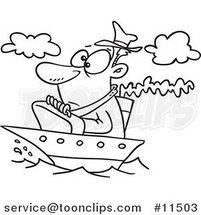 Cartoon Line Drawing of a Guy on a Tiny Ship by Ron Leishman