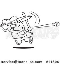 Cartoon Line Drawing of a Baseball Boy Hitting a Home Run by Ron Leishman