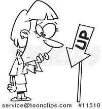 Cartoon Line Drawing of a Business Woman Looking at an up Sign Pointing down by Ron Leishman