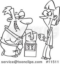 Cartoon Line Drawing of Colleagues Flirting at the Water Cooler by Ron Leishman