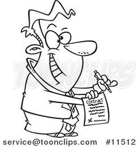 Cartoon Line Drawing of an Eager Business Man Holding a Contract by Ron Leishman