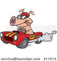 Cartoon Pig Racing a Hot Rod by Ron Leishman