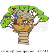 Cartoon White Pirate Boy in His Tree House by Ron Leishman
