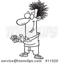 Cartoon Devious Nerd with a Gadget Black and White Outline 1 by Ron Leishman