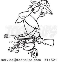 Cartoon Big Game Hunter with a Rifle Black and White Outline by Ron Leishman
