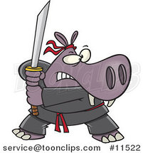 Cartoon Hippo Ninja by Ron Leishman