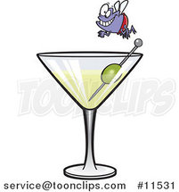 Cartoon Fly Diver over a Martini by Ron Leishman
