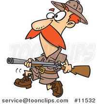 Cartoon Big Game Hunter with a Rifle by Ron Leishman