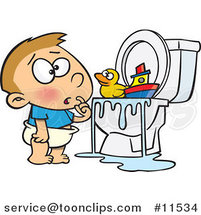 Cartoon Boy with Toys in the Toilet by Ron Leishman