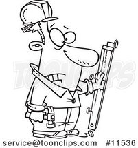 Cartoon Carpenter Nailing His Hand to a Board Black and White Outline by Ron Leishman