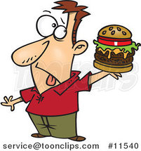 Cartoon Guy Holding a Reject Burger by Ron Leishman