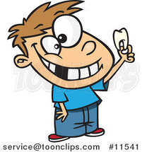 Cartoon Proud White Boy Holding His Tooth by Ron Leishman