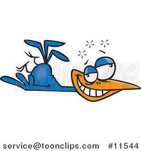 Cartoon Tipsy Blue Bird by Ron Leishman