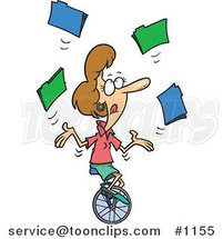 Cartoon Business Woman Juggling File Folders on a Unicycle by Ron Leishman