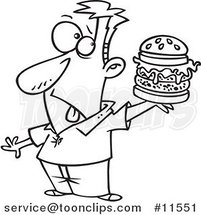 Cartoon Guy Holding a Reject Burger Black and White Outline by Ron Leishman