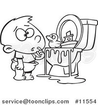 Cartoon Boy with Toys in the Toilet Black and White Outline by Ron Leishman