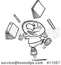 Cartoon Happy School Boy Ready for Vacation Black and White Outline by Ron Leishman