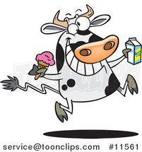 Cartoon Dairy Cow with Ice Cream and Milk by Ron Leishman