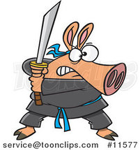 Cartoon Ninja Pig with Sword by Ron Leishman