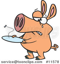 Cartoon Pig with an Empty Plate by Ron Leishman