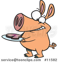 Cartoon Pig with Meat on a Plate by Ron Leishman