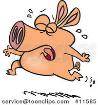 Cartoon Pig Crying and Running by Ron Leishman