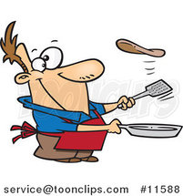 Cartoon Guy Flipping a Flapjack by Ron Leishman