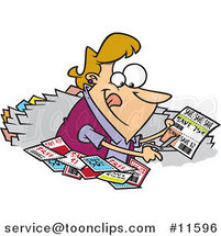 Cartoon Lady Clipping Coupons by Ron Leishman
