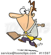 Cartoon Business Man Running with a File by Ron Leishman