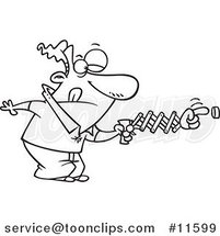 Cartoon Outlined Guy Using a Spring Hand to Push a Button by Ron Leishman
