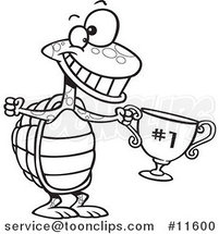 Cartoon Outlined Tortoise Champ with a Trophy by Ron Leishman