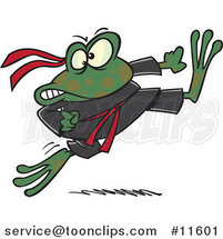 Cartoon Ninja Frog Kicking by Toonaday