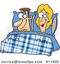 Cartoon Happy Couple in Bed by Ron Leishman