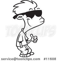 Cartoon Outlined Thumbs up Boy with Shades by Ron Leishman