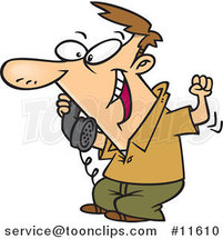 Cartoon Guy Hearing Good News on the Phone by Ron Leishman