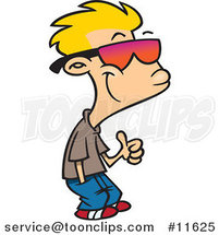 Cartoon Thumbs up Boy with Shades by Ron Leishman