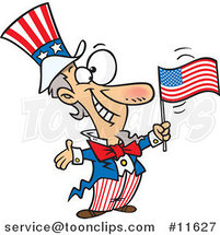 Cartoon Patriotic Uncle Sam by Ron Leishman