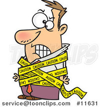Cartoon Business Man Tied in Caution Tape by Ron Leishman