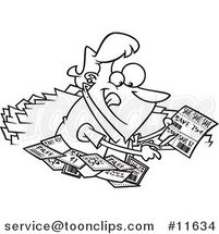 Cartoon Outlined Lady Clipping Coupons by Ron Leishman