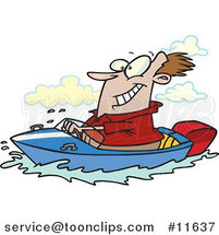 Cartoon Happy Guy Driving a Motor Boat on a Lake by Ron Leishman