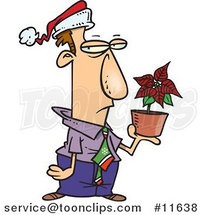 Cartoon Disgruntled Employee in a Santa Hat, Holding a Poinsettia Plant As a Christmas Bonus by Ron Leishman