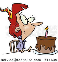 Cartoon Birthday Lady with Candle on a Birthday Cake by Ron Leishman