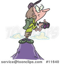 Cartoon Lady Hiker on Top of a Mountain, Holding Binoculars by Ron Leishman