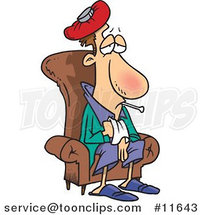 Cartoon Sick Guy Sitting in a Chair by Ron Leishman