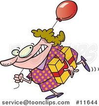 Cartoon Birthday Girl in a Polka Dot Dress, Carrying a Present and Balloon by Toonaday